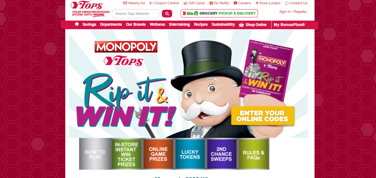 Tops Monopoly Sweepstakes