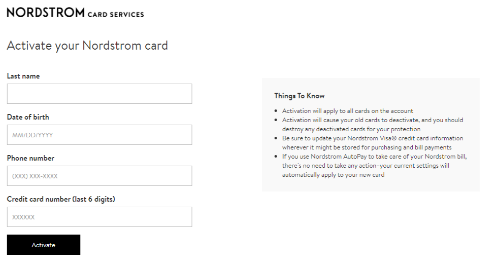 activate your Nordstrom Credit Card
